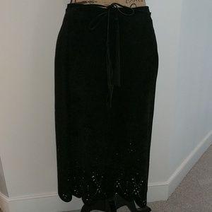 Skirt -- Danier black suede mid calf length skirt